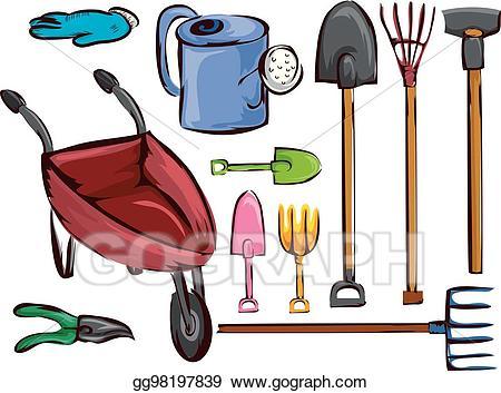 Eps illustration farm garden. Farming clipart tool