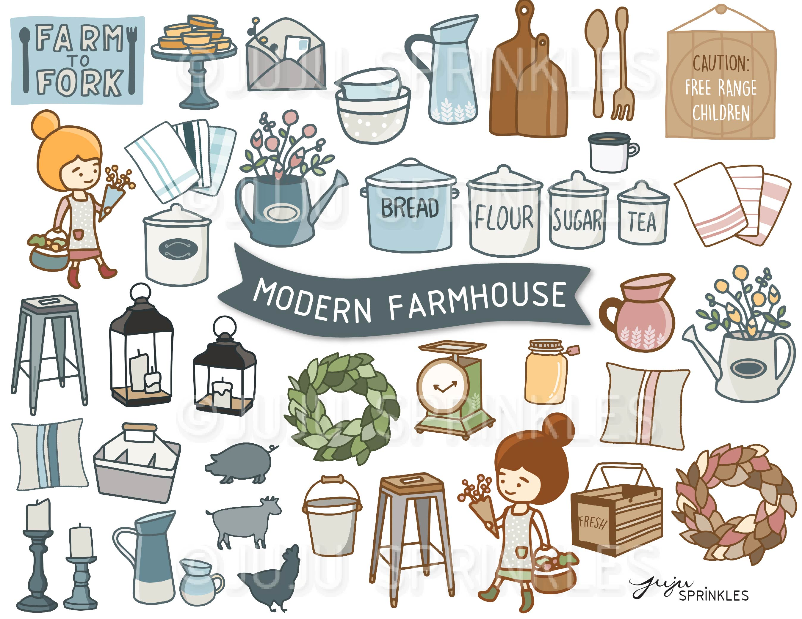 Modern and sticker set. Farmhouse clipart
