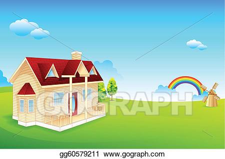 Farmhouse clipart backdrop. Vector illustration stock clip