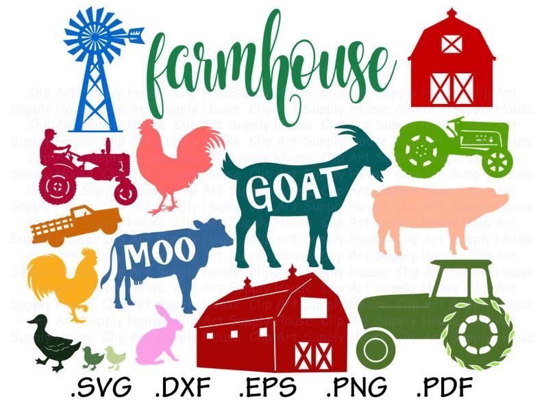 Farm svg files tractor. Farmhouse clipart backyard animal