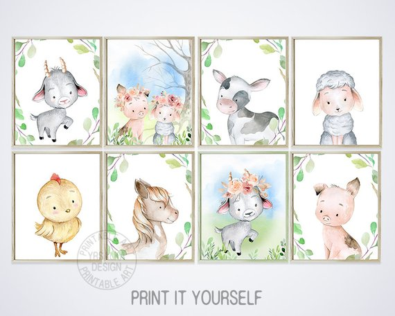 Baby farm paintings prints. Farmhouse clipart backyard animal