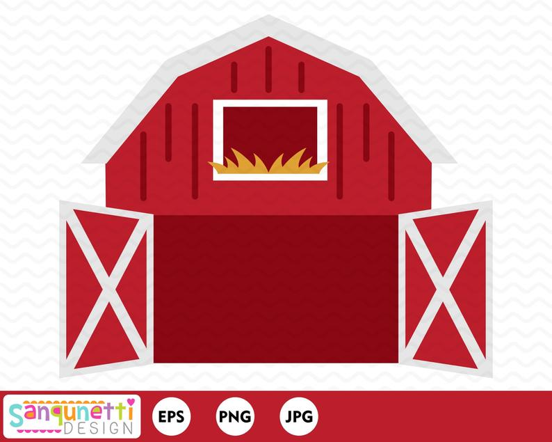 Farmhouse clipart barnyard. Open barn farm digital