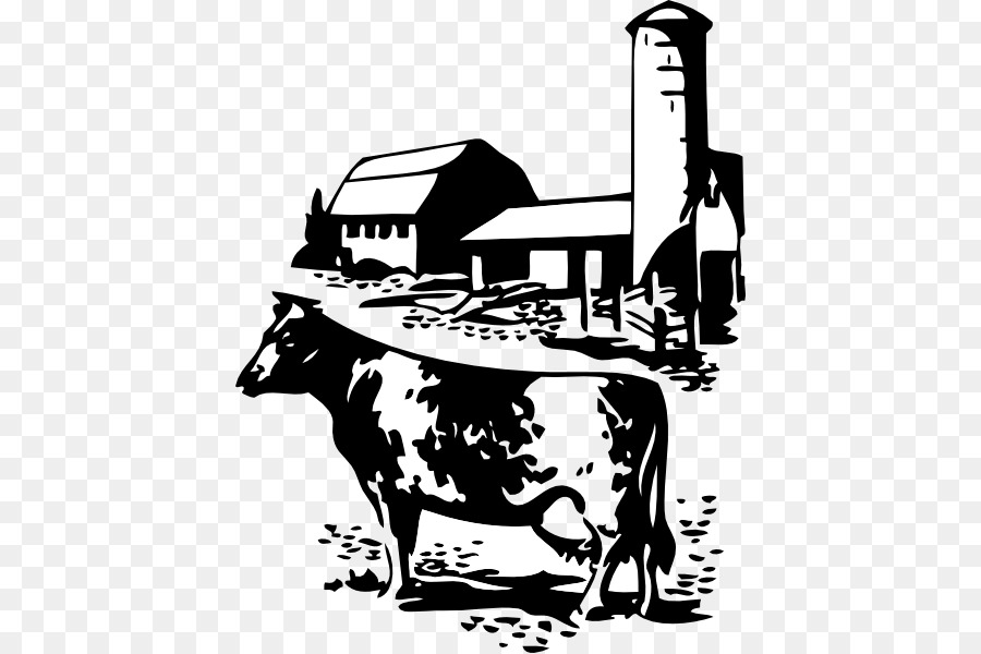 White background farm silhouette. Farmhouse clipart cattle shed