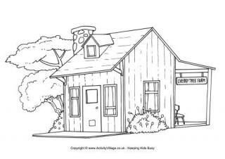 Farm house colouring page. Farmhouse clipart coloring