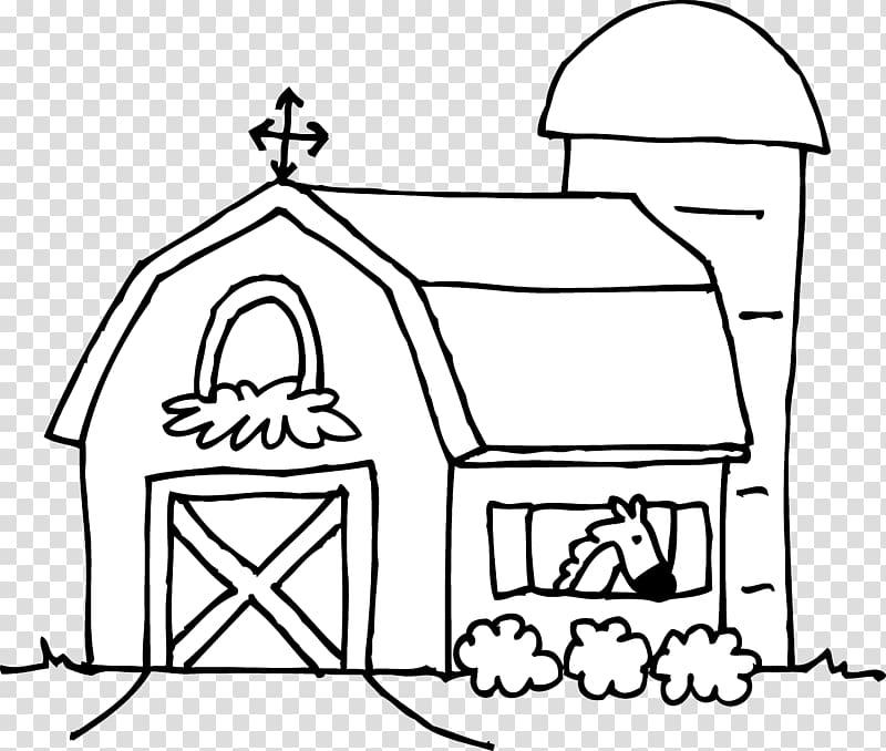 Farmhouse clipart coloring. Silo book barn transparent