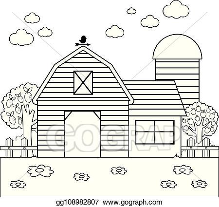 Farmhouse clipart coloring. Vector barn at the
