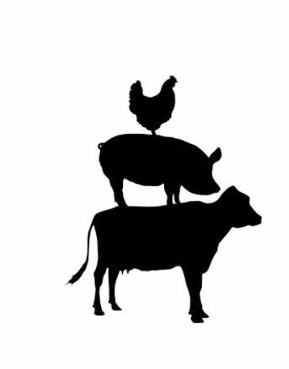 Chicken pig stack vinyl. Farmhouse clipart cow