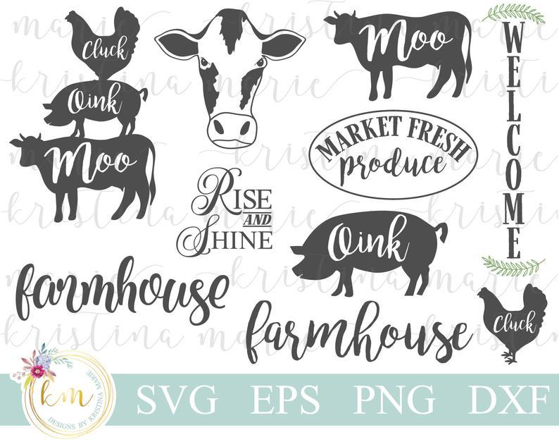 Svg bundle cow rustic. Farmhouse clipart dairy farm