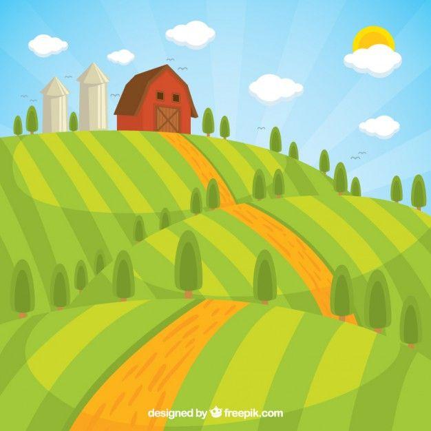 Farmhouse clipart farm landscape. Pin by huy tr