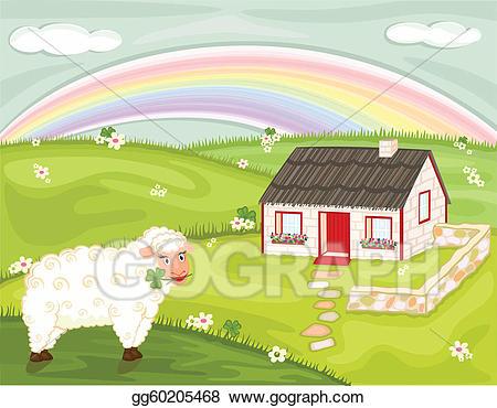Farmhouse clipart farm landscape. Vector illustration irish country