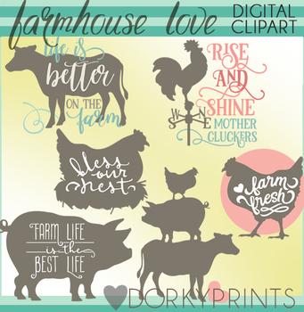 Farmhouse clipart farm life.