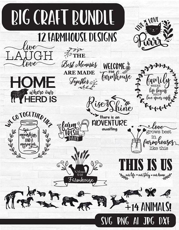 Digital quote svg bundle. Farmhouse clipart farm life