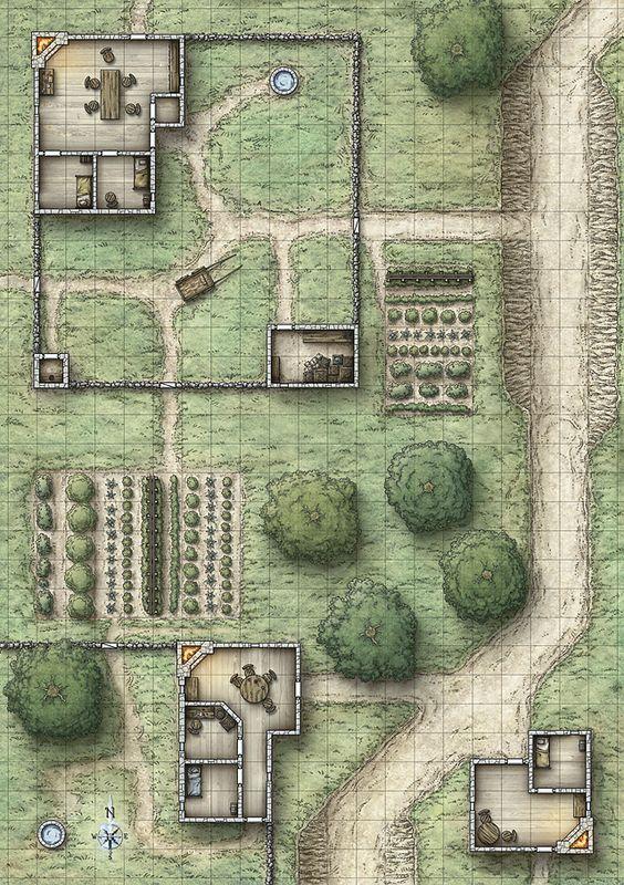 Farmhouse clipart farm map. Simple d inspiration dungeon