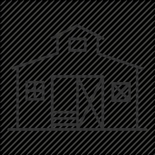 agriculture linear outline. Farmhouse clipart farm shed