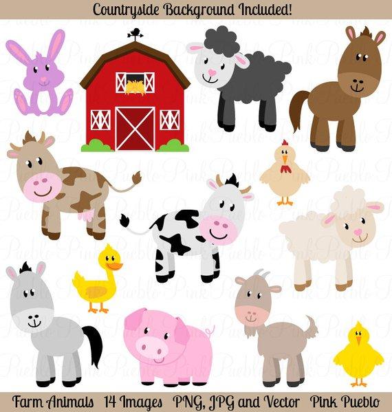 Animals clip art barnyard. Hay clipart farm theme
