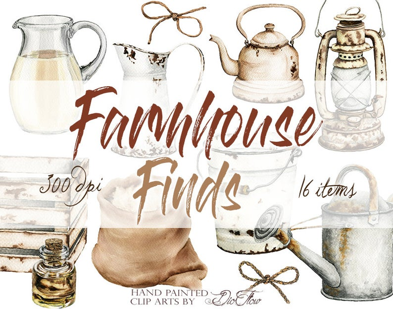 Farmhouse clipart farm work. Watercolor country cottage clip