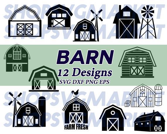 Barn svg farming decal. Farmhouse clipart green farm