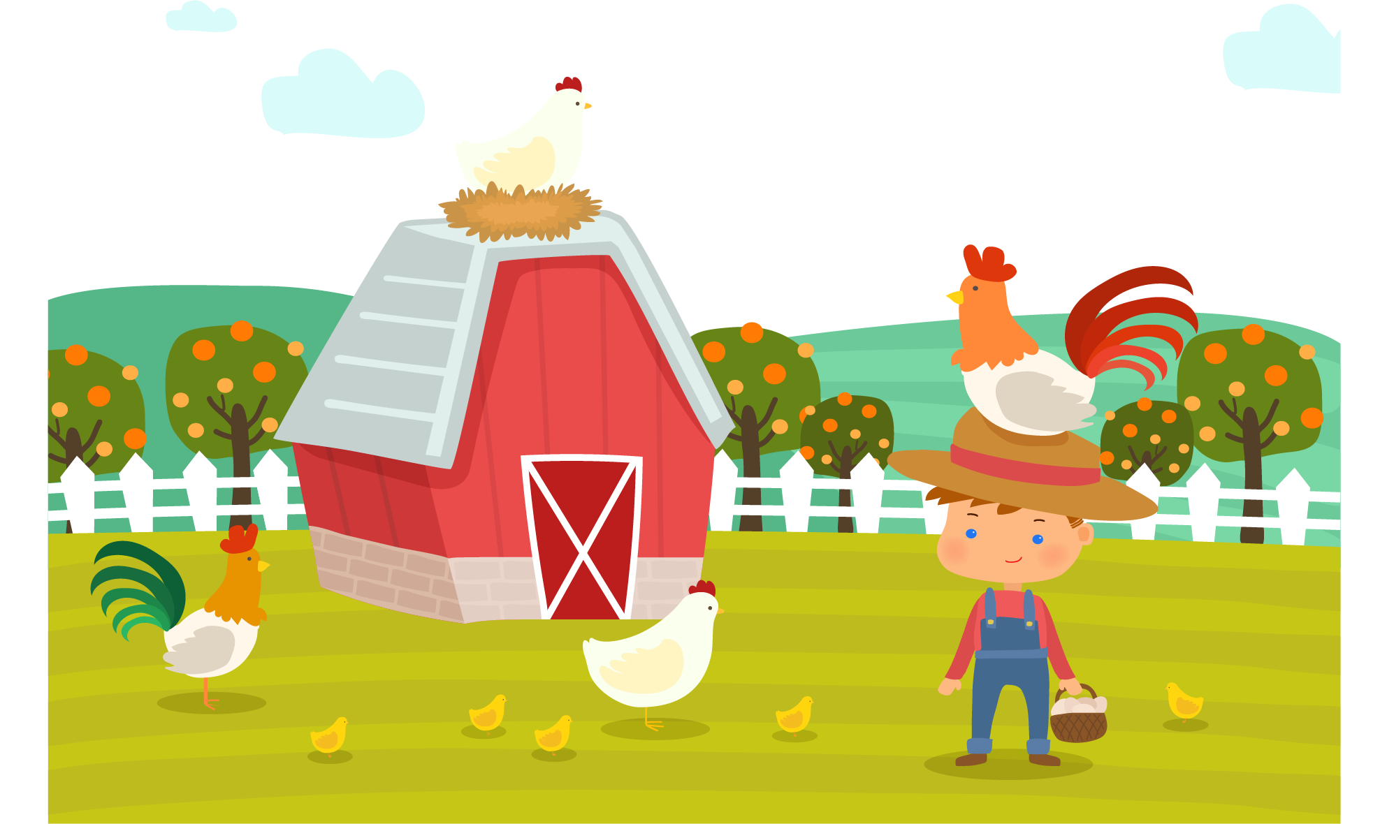Farmhouse clipart hay. Day chicken cartoon farm