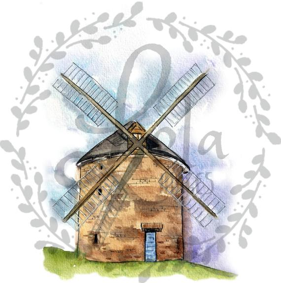 Windmill wind mill bales. Farmhouse clipart hay