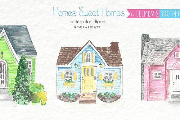 Farmhouse clipart nice house. Watercolor clip art houses
