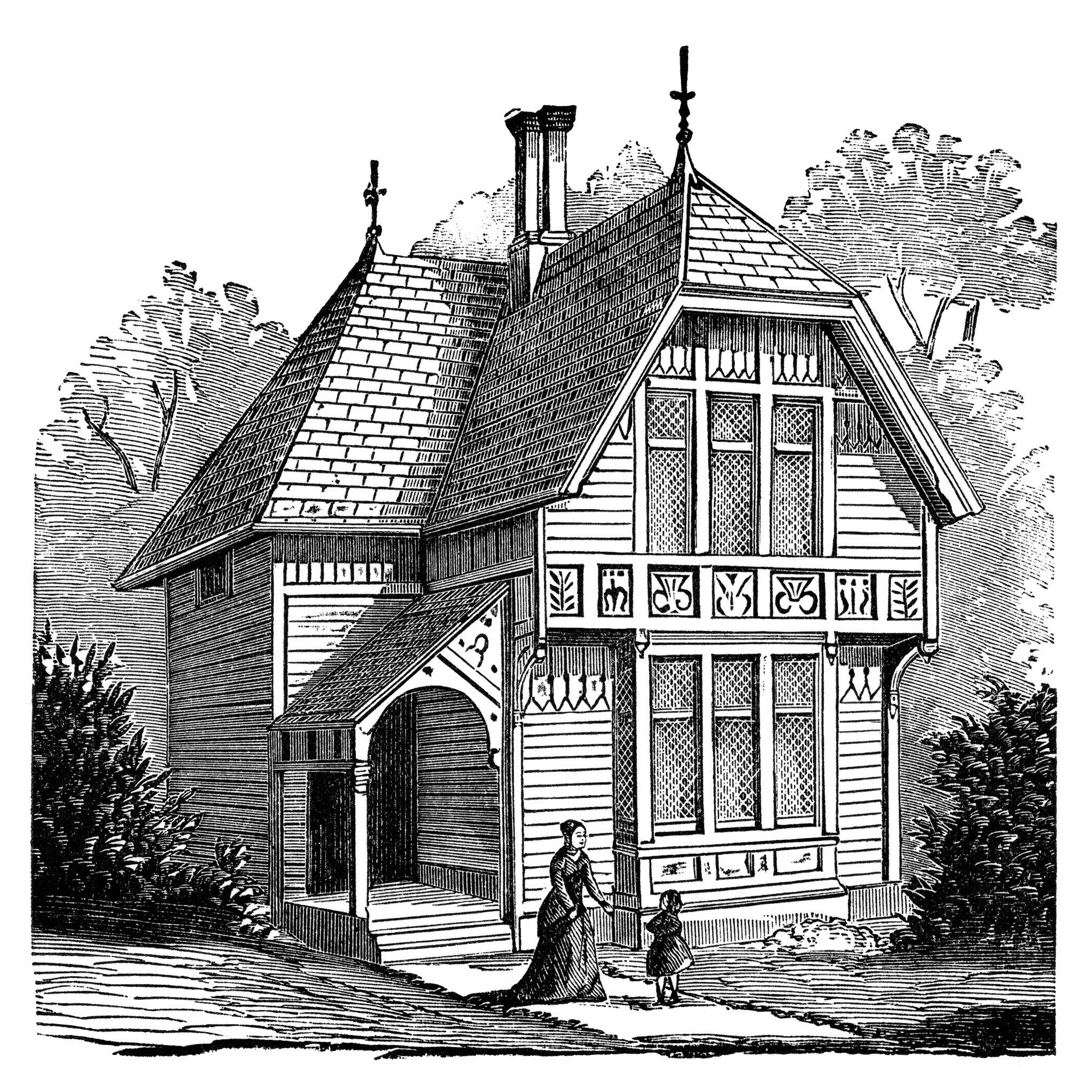 Farmhouse clipart old fashioned house. Antique illustration black and