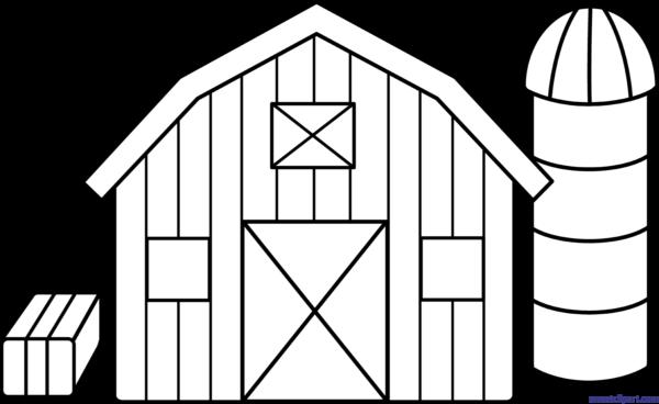 Black and white farm. Farmhouse clipart outline