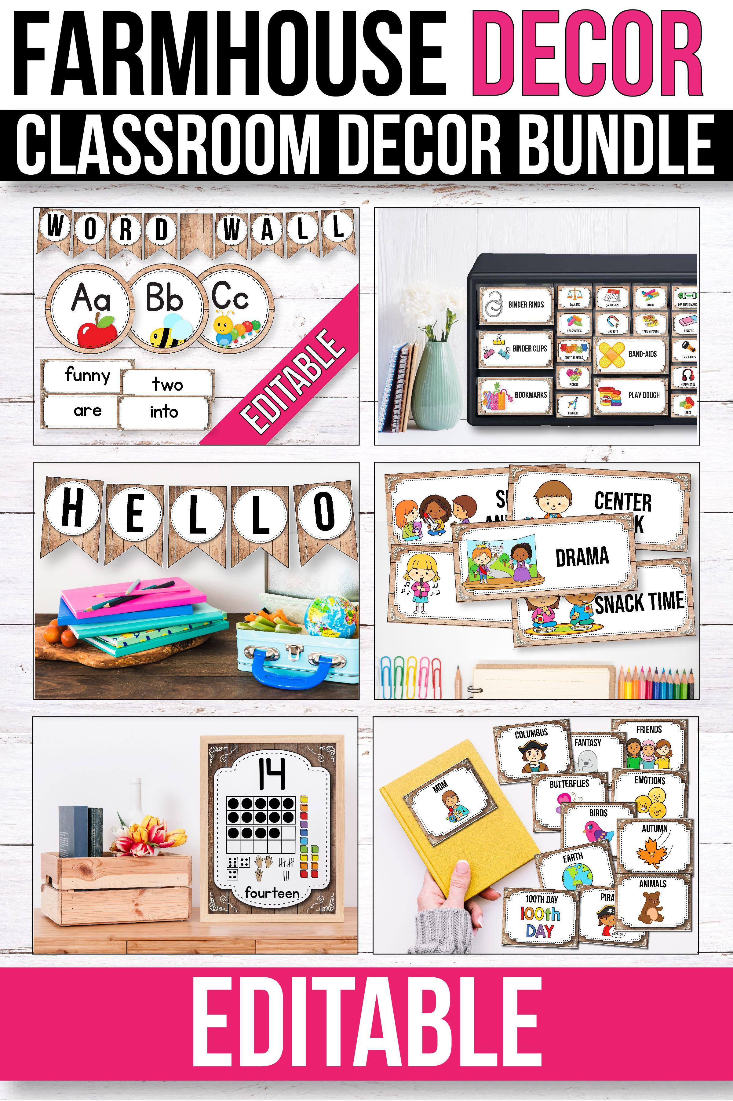 This bright classroom theme. Farmhouse clipart preschool
