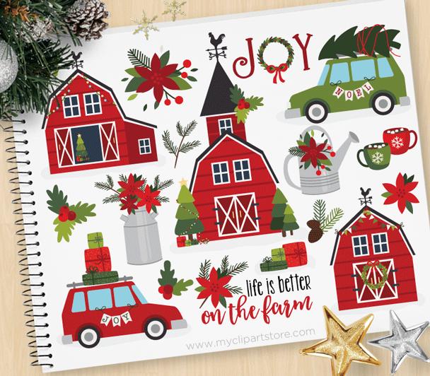Christmas . Farmhouse clipart red farmhouse