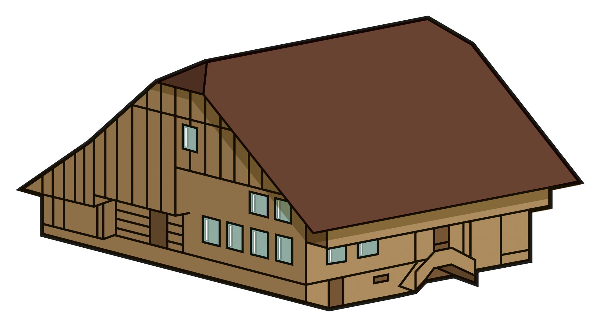 . Farmhouse clipart rural area