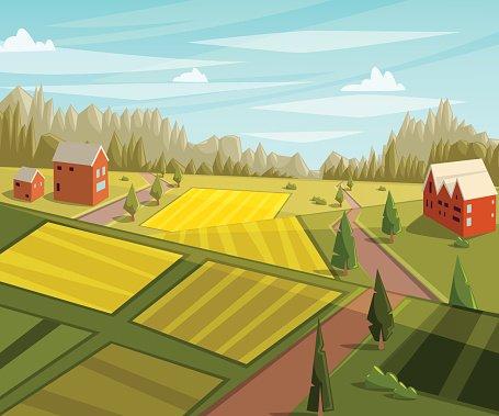 Farmhouse clipart rural area. Farm landscape with fields