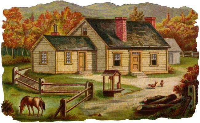 Farmhouse clipart rural place. Farm house clip art