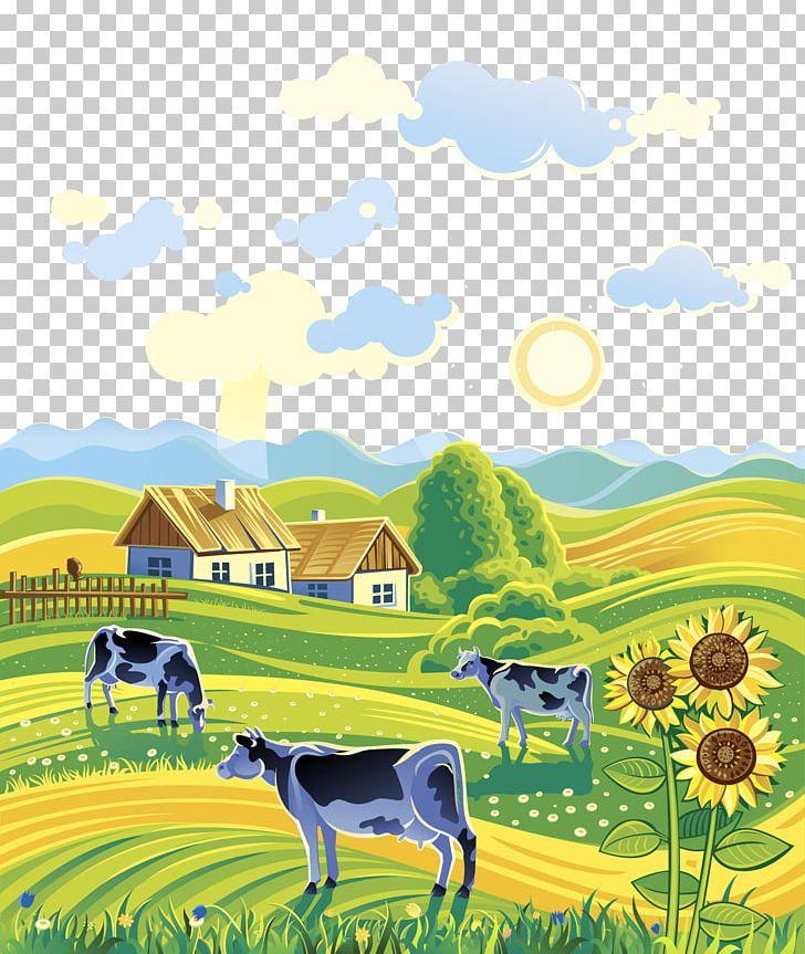 Farmhouse clipart rural place. Area landscape farm illustration