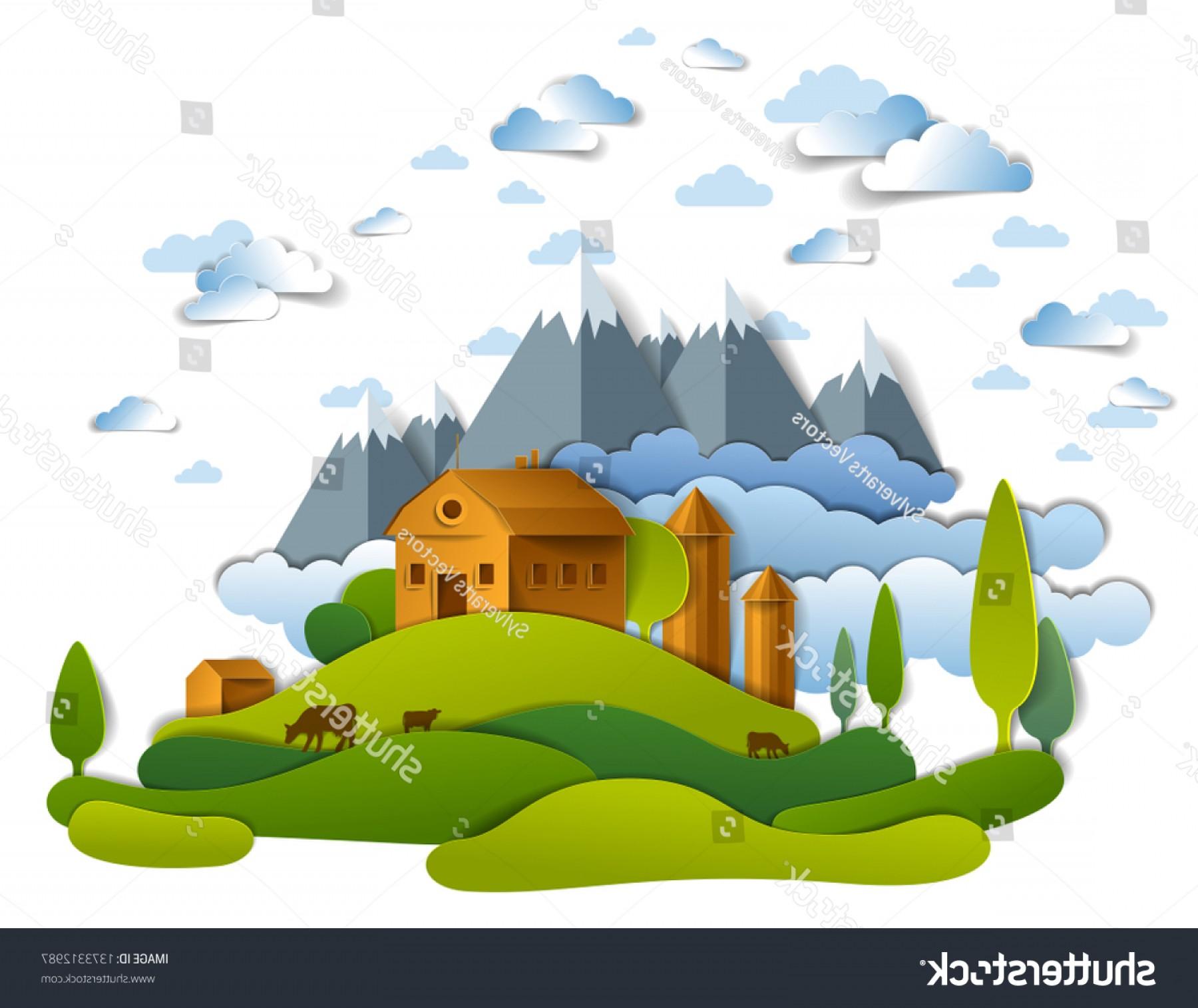 Farm scenic landscape fields. Farmhouse clipart scenery