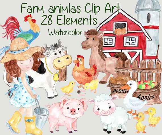 Farmhouse clipart sheep farm. Animals clip art watercolor