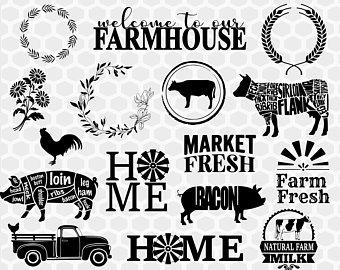 Farmhouse clipart svg. Etsy