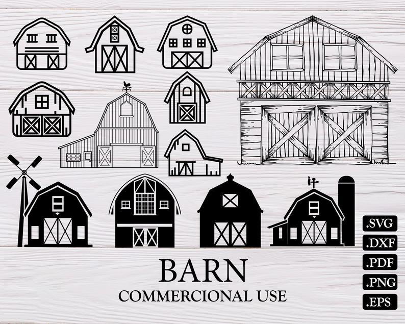 Barn farm farming silhouette. Farmhouse clipart svg