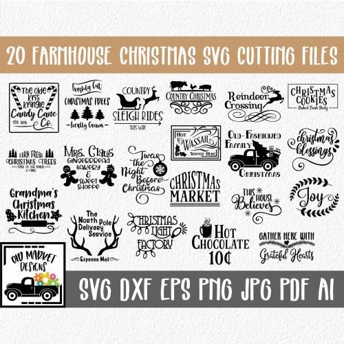 Farmhouse clipart svg. Cut file bundle with