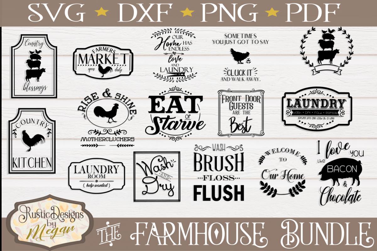 Farmhouse clipart svg. Bundle cut files