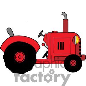 Vintage red farm panda. Farmhouse clipart tractor