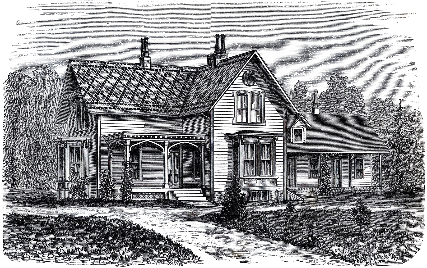 Farmhouse clipart victorian home. Lovely vintage image the