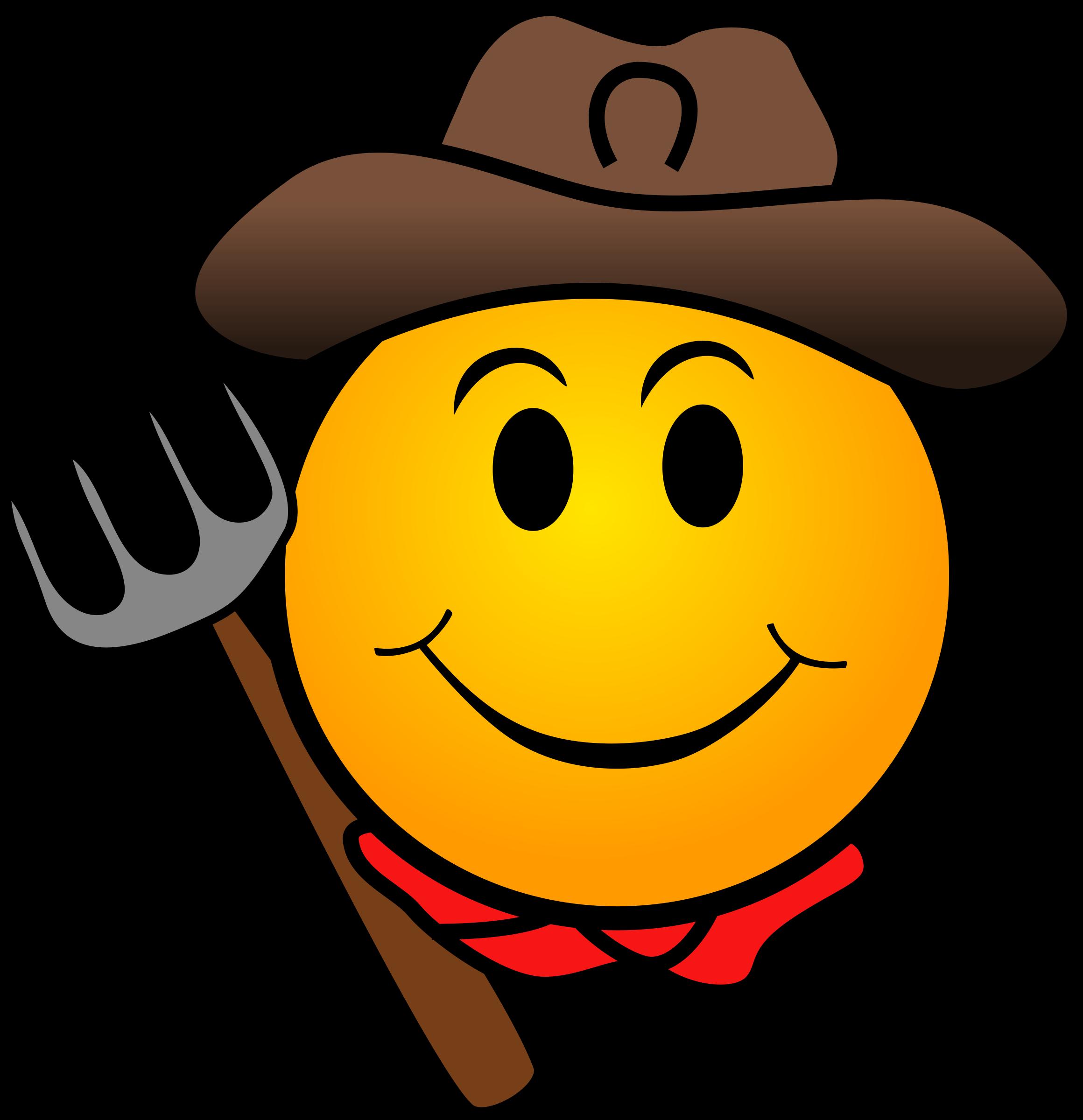 Farmer smiley big image. Whip clipart emoji