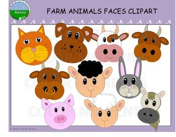 Farming clipart farmer face. Farm animal faces freebie
