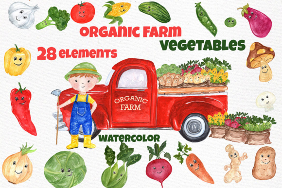 Farming clipart local food. Watercolor vegetables farm kawaii