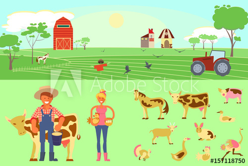 Infographic elements with field. Farming clipart poultry farm