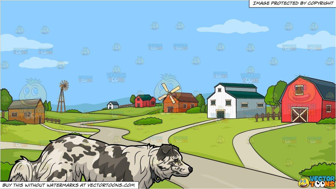 A big dog walking. Farming clipart rural area