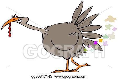 Fart clipart bird. Turkey farts stock illustration