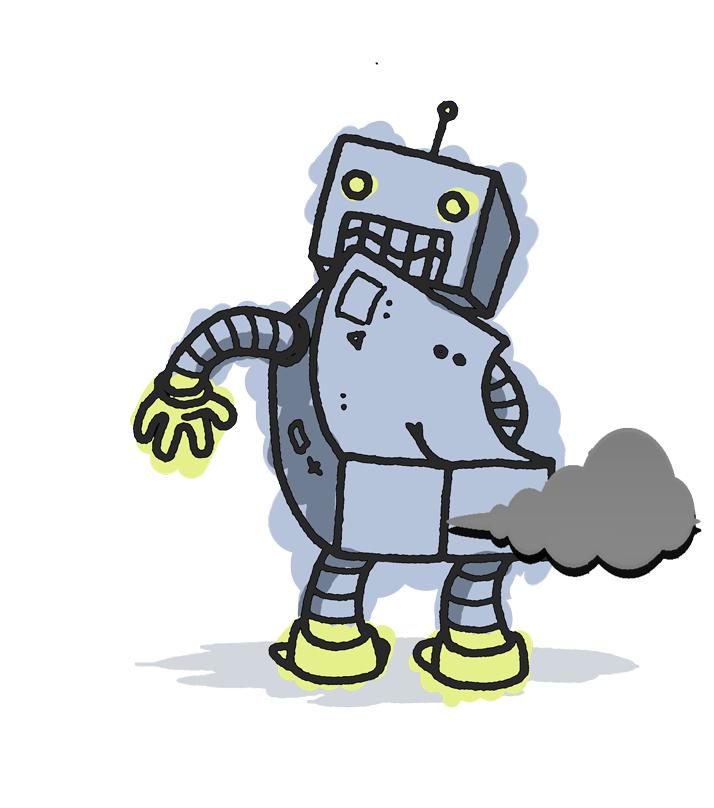 Fart clipart drawing. Robot butt