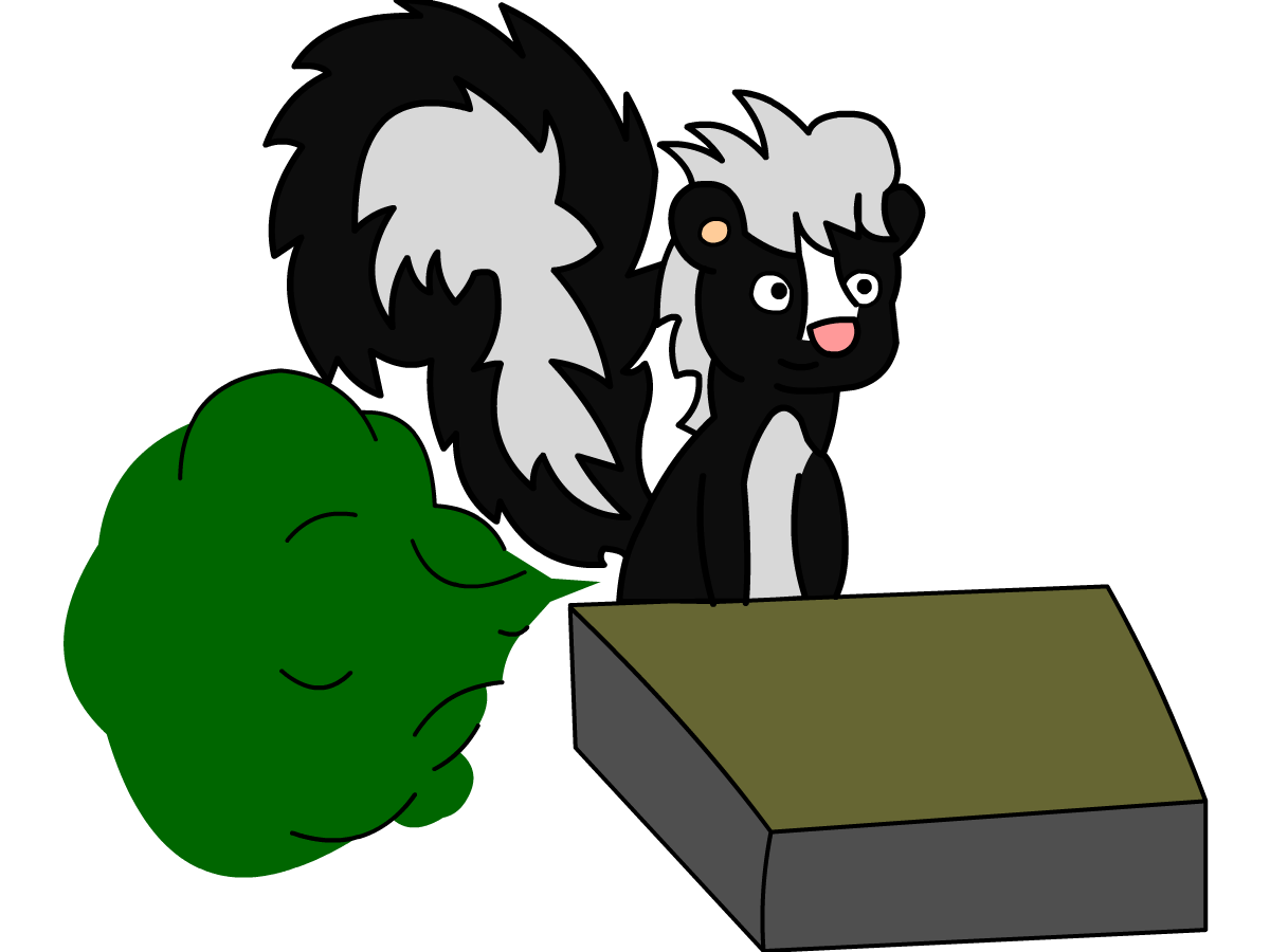 Skunk farting in class. Fart clipart lines