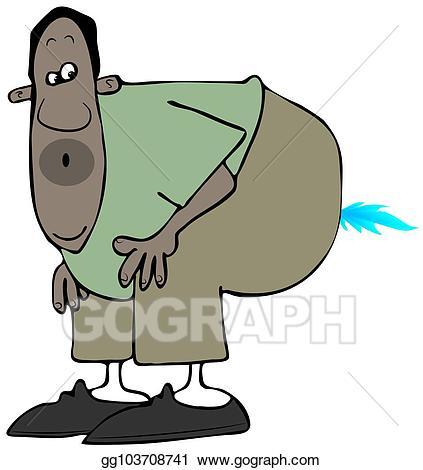 Illustration ethnic man doing. Fart clipart stock photo