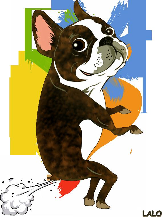 Lalo the boston terrier. Fart clipart vector